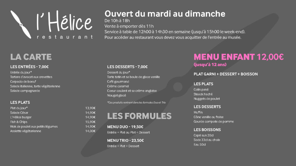 Carte menu l'Hélice