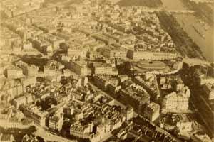 Vue aérienne de Paris prise du ballon captif Lachambre