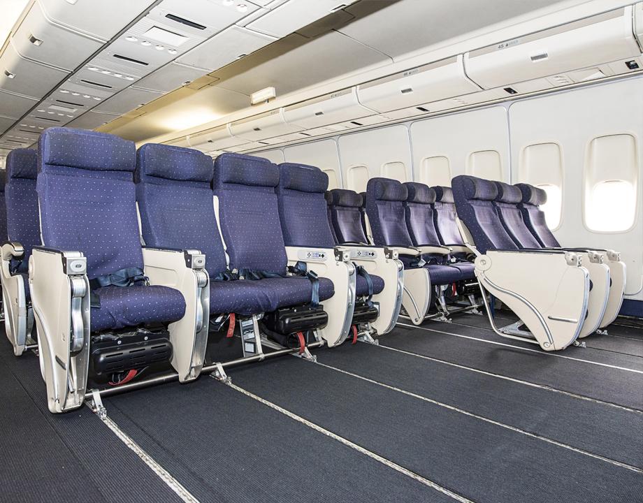 Sièges dans la cabine arrière du Boeing 747