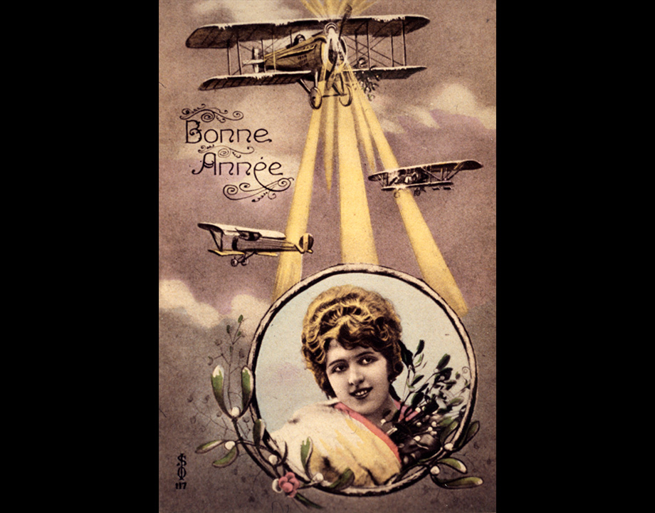 Et la lumière fut ! Une carte de vœux à la gloire de l'aviation qui dispense ses bienfaits sur la terre, s.d. Col. Musée de l'Air et de l'Espace – Le Bourget, DR